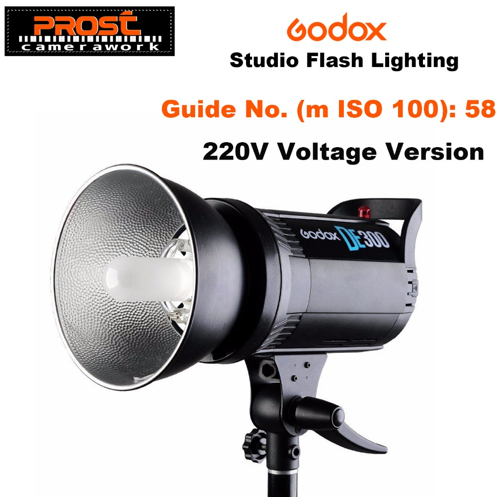 Godox DE300 300W Compact Studio Flash Light Strobe Lighting Lamp Head 300Ws 220V/110V GN58 5600K professional de300 300w 300 watts compact studio flash strobe light godox de 300 lamp head 220v
