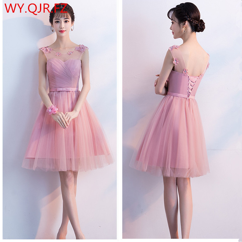 KBS031#Bean paste short lace up round collar Bow   Bridesmaid     Dresses   Bre wedding party prom   dress   2018 wholesale cheap clothing
