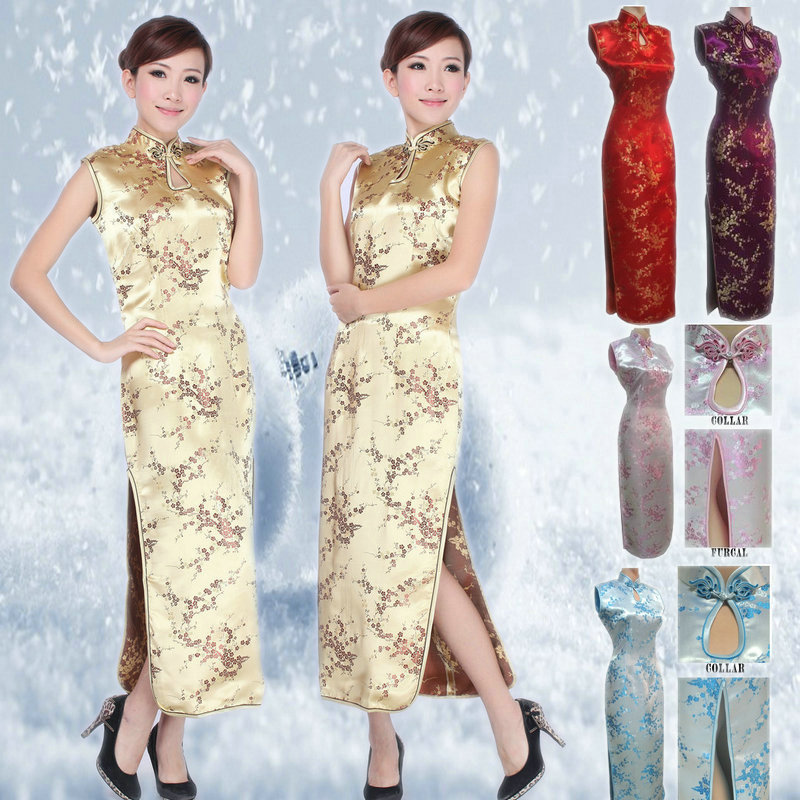 Wholesale Chinese Traditional Dress For Women  Silk Satin Plum Blossom Cheongsam Lady Tang Costume Qipao S-4XL  90