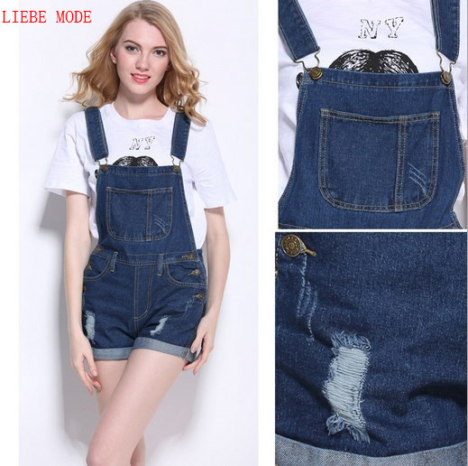 2017 Rompers Womens Playsuits and Jumpsuits Summer Ripped Shorts Jeans Dark Light Blue Combinaison Short Femme