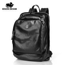 Bison Denim Genuine Leather Black Men's Backpack Large Capacity Soft First Layer Cowhide Men Bag 17 inches tablet computer bag(China (Mainland))