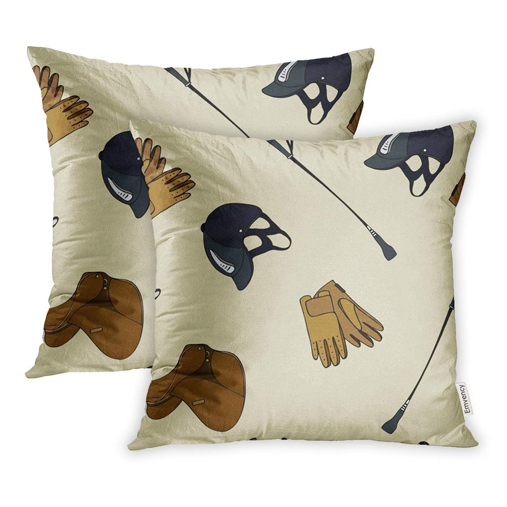 Throw Pillow Covers Print Zippered Black Equestrian Sport Gloves Whip Helmet Cartoon Color Pillowcase Square Couch 's
