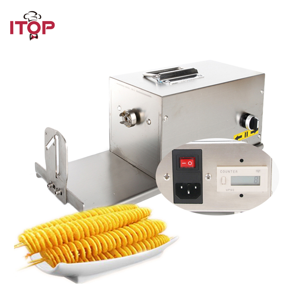 ITOP Electric Potato Spiral Cutter Machine Tornado Potato Tower Maker Stainless Steel Twisted Carrot Slicer Commercial stainless steel potato slicer chip cutter crinkle wavy with plastic handle