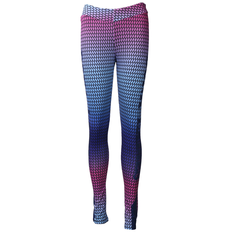 Fashion 2017 New Multicolor Gradient Mesh Patchwork Fitness Leggings Breathable Absorb Sweat Elastic Compression Pants