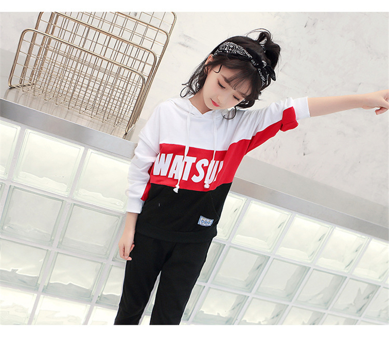 c2e3b9ae56c Children Clothing Age 2-12 2018 New Girls ` Autumn Wear Cuhk `s Korean Kids  Sports Kit Is A Two-piece Cotton Cap Clothing Set 061