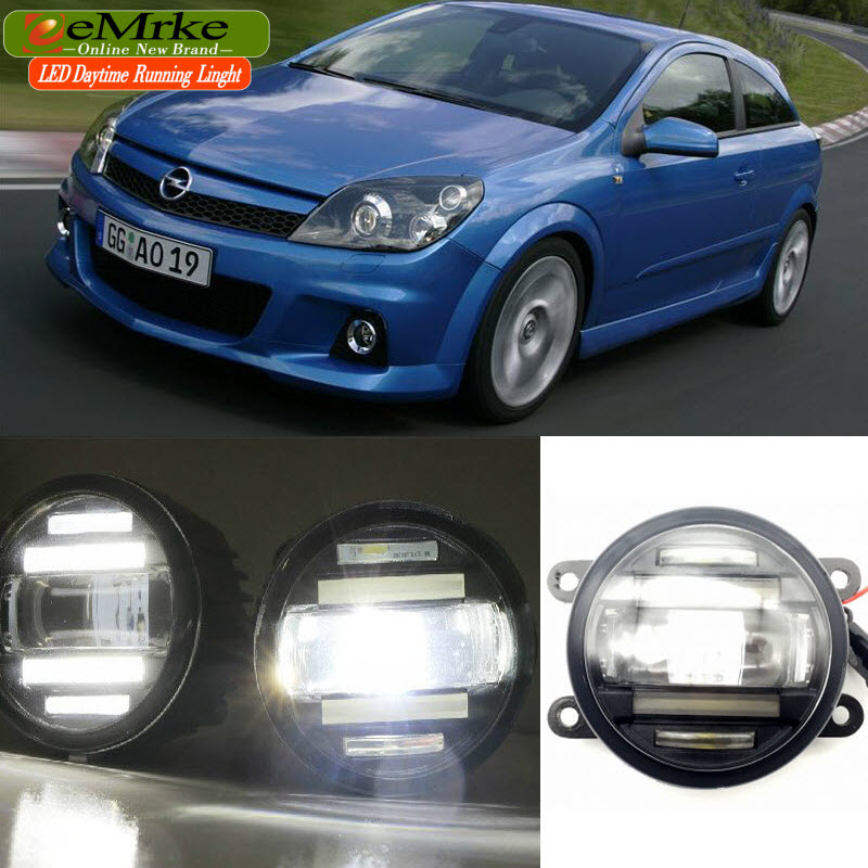 eeMrke Car Styling For Opel Astra OPC G H 2002-2010 2 in 1 LED Fog Light Lamp DRL With Cut-line Lens Daytime Running Lights eemrke car styling for opel zafira opc 2005 2011 2 in 1 led fog light lamp drl with lens daytime running lights