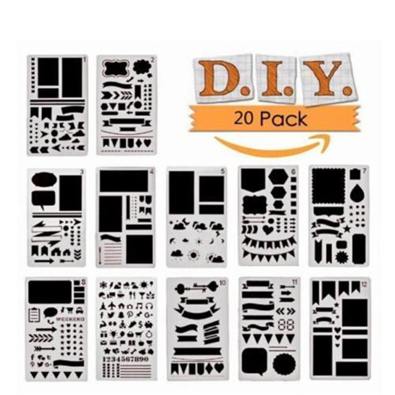 20pcs/12pcs/set Bullet Journal Stencil Plastic Planner DIY Drawing Template Craft Kids Baby Learning Drawing Toys