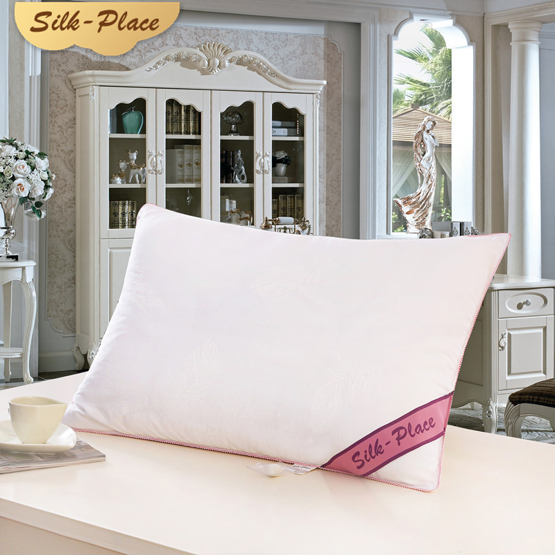SILK PLACE High Quality Sleeping Pillow 100% Cotton White Nature Silk Travel Hotel Bedding Pillow 70 * 70cm For Wedding Gifts image