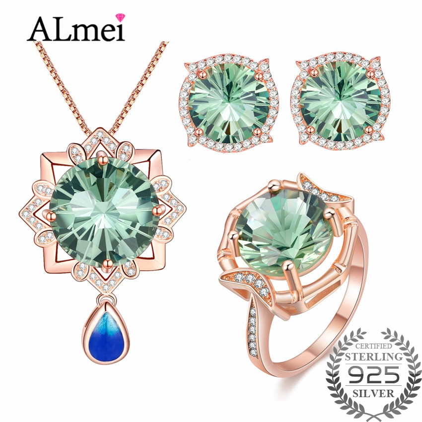 Almei Tested 925 Sterling Silver Green CZ Stone Luxury Jewelry Set for Women Earring/Pendant/Necklace/Ring with A Gift Box CT006Almei Tested 925 Sterling Silver Green CZ Stone Luxury Jewelry Set for Women Earring/Pendant/Necklace/Ring with A Gift Box CT006