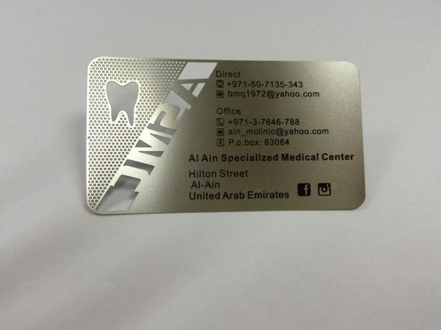 Stainless steel metal card for card dentist with cutting out and one stainless steel metal card for card dentist with cutting out and one color printing thickness 03 reheart Gallery