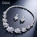 ZAKOL Chispeante Plateado Platino Mujeres de Lujo de Imitación de Diamante Marquesa Forma Flor Circón Joyería Nupcial Conjunto FSSP049