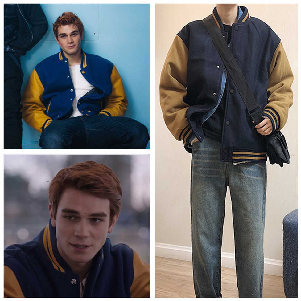 TV Series Riverdale Archie Andrews Jacket Baseball Coat Hoodie Outfit Men Women Cardigan Wool Jackets Cosplay Costume Navy Blue