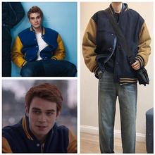 Serial telewizyjny Riverdale Archie Andrews kurtka kurtka baseballowa bluza z kapturem strój mężczyźni kobiety sweter wełniane kurtki przebranie na karnawał granatowy tanie tanio Pełna Shopular Cartoon REGULAR COTTON Poliester Na co dzień Skręcić w dół kołnierz HX96101275C3 Chiny (kontynentalne)