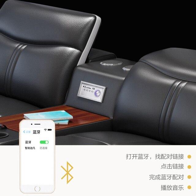 Canapé dangle en cuir véritable, meuble de salon avec haut-parleur