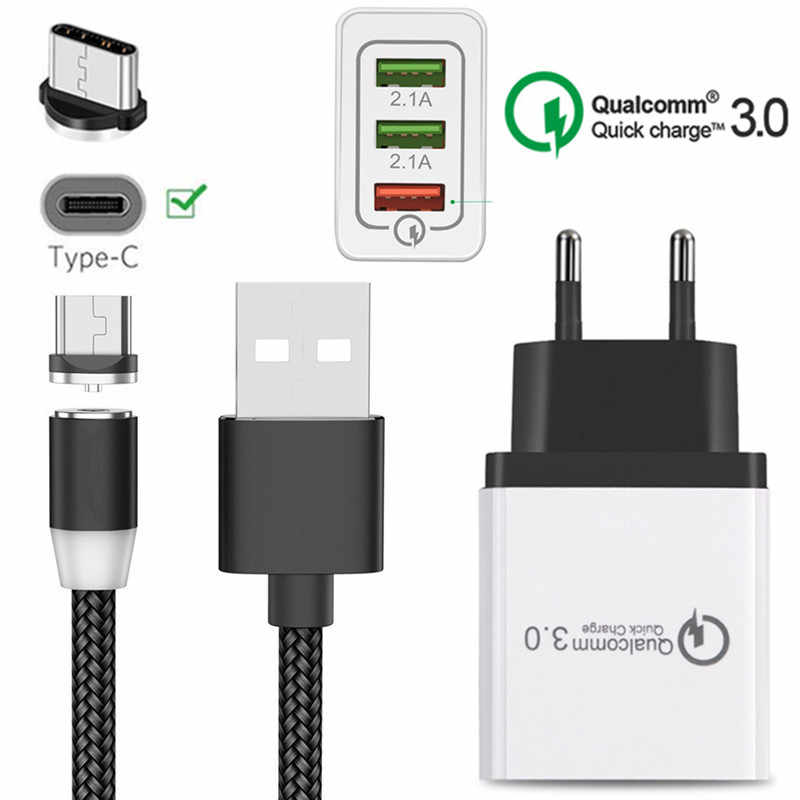Magnetic USB Kabel untuk Samsung Galaxy S8 S9 S10 M40 A70 A50 A30 A20E A3 A5 A7 2017 Tipe C magnet Biaya Kawat QC 3.0 Cepat Charger