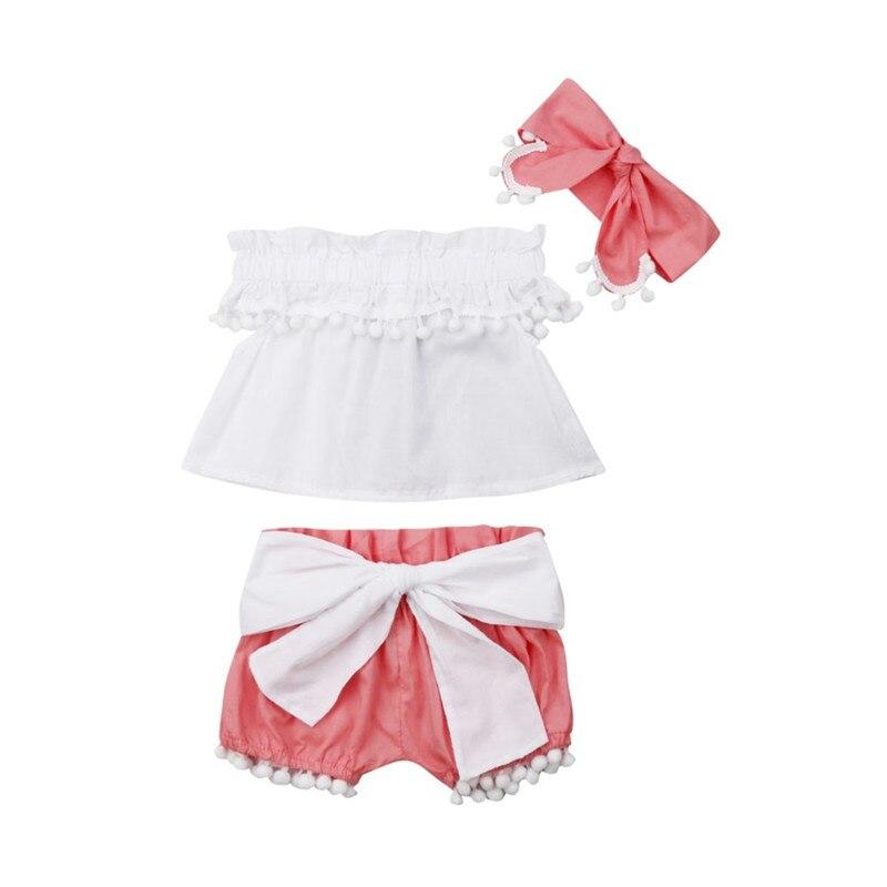 Infant Baby Girl Sleeveless Tank Top Shorts Headband Clothes Outfits Set