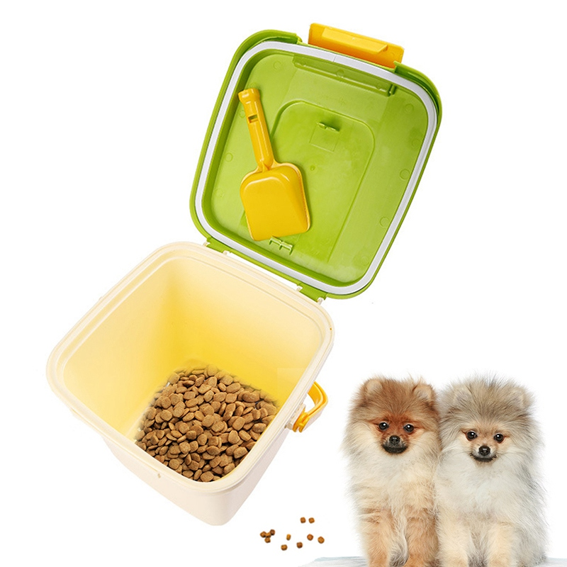 10L Pet Dog Food Container+Shovel Set Square Good Sealing Moisture Dog Storage Food Sundries Toys Dog Supplies