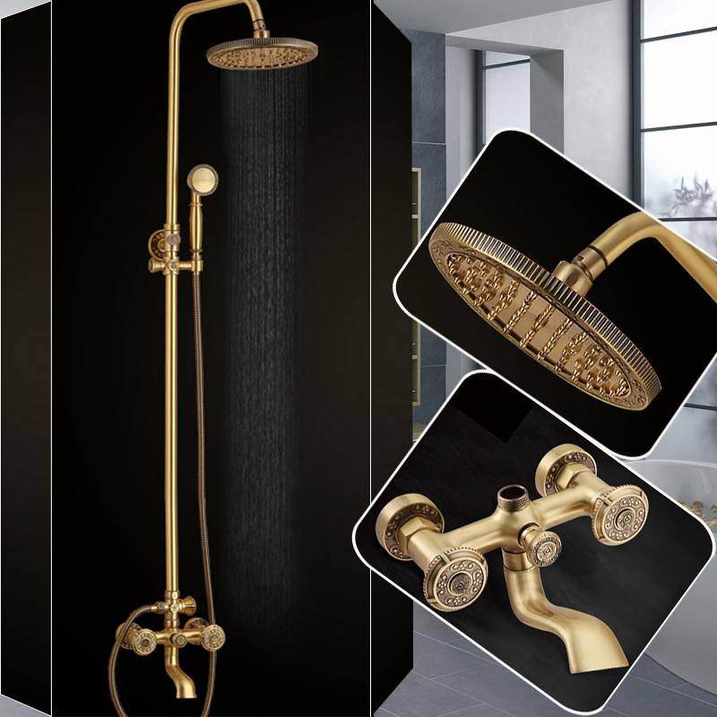 Beat Quality 8 Antique Rainfall Shower set faucet Dual Handle Brass Rotate Tub Filler Bath and Shower Mixer Tap with Hand Showe antique brass 8 rain shower faucet set double corss handles tub mixer hand unit