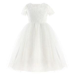 Image 3 - Iiniim フラワーガールズドレスホワイトアイボリーリアル Vestidos パーティープリンセスドレスリトル子供子供の中空ハートドレス結婚式のための