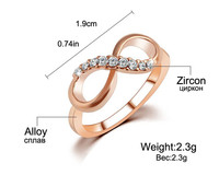 IF ME New Design hot sale Fashion Alloy Crystal Rings Gold Color Infinity Ring Statement jewelry Wholesale for women Jewelry 4