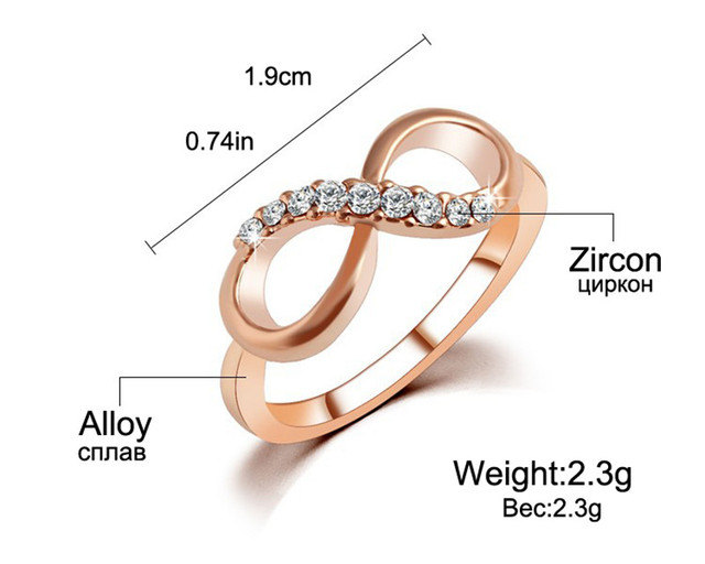 IF ME New Design Charm Fashion Alloy Crystal Rings Rose Gold Color Infinity Ring Statement jewelry Wholesale for Women Jewelry