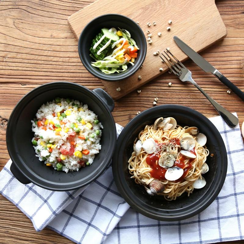 Western Salad Dishes: Japanese Style Black Ceramic Western Style Food Dish Flat