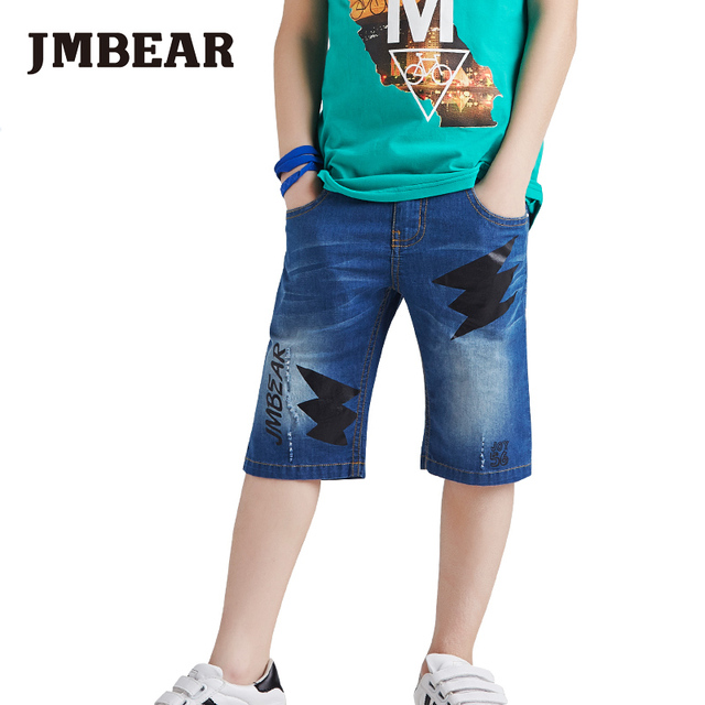 JMBEAR summer boys jeans knee length pants for kids casual shorts solid pattern clothing for baby