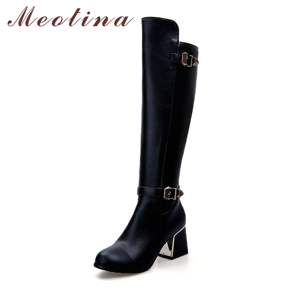 Meotina Women Riding Boots Thick Heels Knee High Boots 2017 Buckle Autumn Female Long Boots Large Size 34-43 Winter Ladies Shoes women jeans large size high waist autumn 2017 blue elastic long skinny slim jeans trousers large size denim pants stretch female