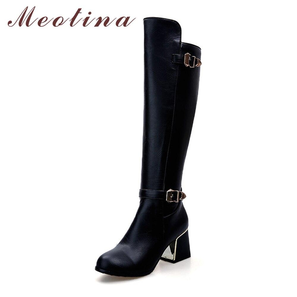Meotina/женские ботинки для верховой езды толстый каблук сапоги до колена 2018 Пряжка осень, для женщин ботинки с высоким голенищем Большие размеры 34–43 Женские зимние сапоги