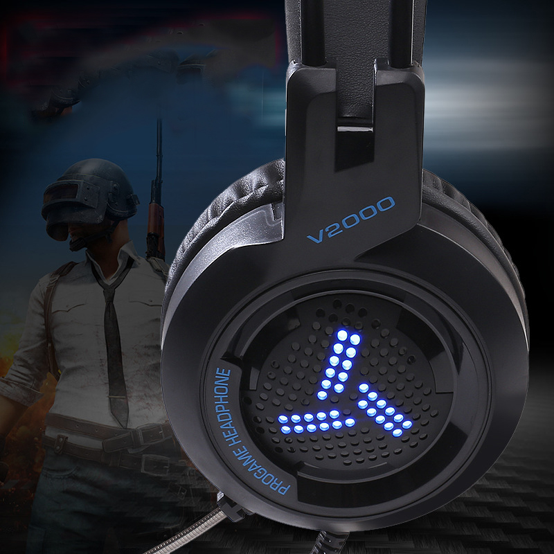 Gaming Headset LED Music Audio BigWith Mic Gaming for PC Computer Headset 7 1 Channel 3 5mm Jack Stereo Optional in Phone Earphones Headphones from Consumer Electronics