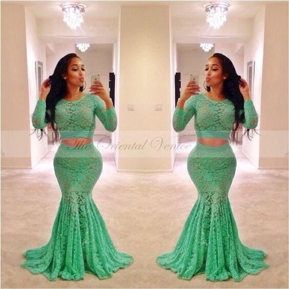 Neon green mermaid prom dresses 2017