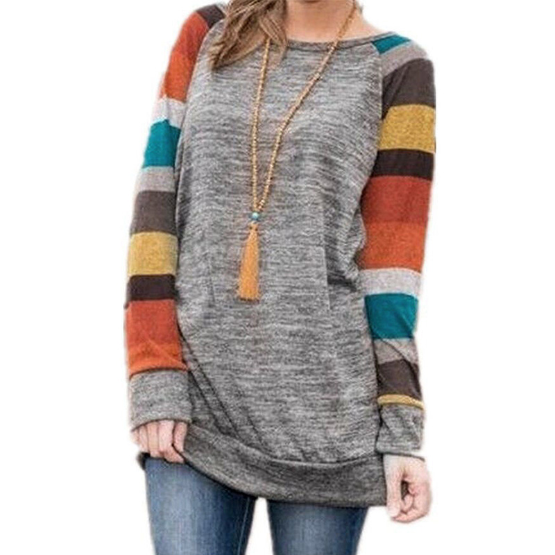 2018 ZANZEA Women Retro O Neck Long Sleeve Patchwork Stripe Shirt Loose Party Color Splice Pullover Jumper Long Blouse Plus Size