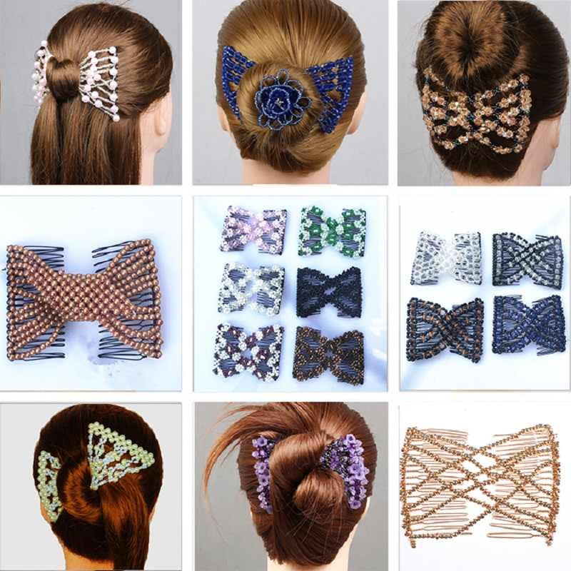 Women Magic Hair Combs Black Beads Stretchable Hair Clips for Thick Hair