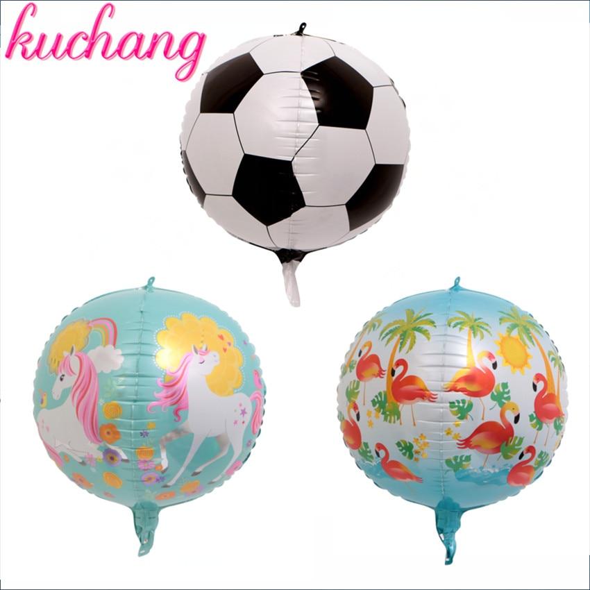 1pcs new 22inch 4D Round football unicorn flamingo Foil Balloons wedding Birthday Party Decor Helium Inflatable Globos supply