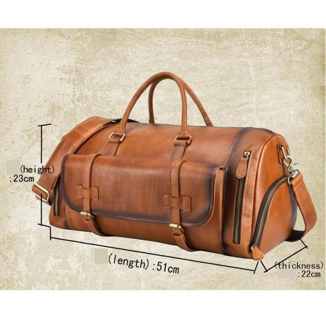 Johnature 2020 New Genuine Leather Vintage Large Capacity Solid Travel Totes Men Travel Bags Duffle Bag Handbags&Crossbody Bags 6