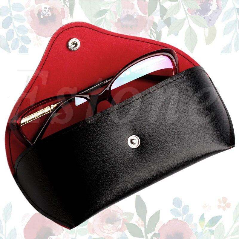 Vi.yo 1 Pièce Lunettes Soleil Case Faux Cuir Triangulaire Foldable Sac Lunettes Facile Transporter (Rouge) 9X7tUtfa
