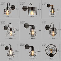 Vintage Wall Lamp Loft Bar Nordic Classic Black Bulb Wire Lamp Cage DIY Wall Lamp Industrial Guard Shade Lamparas