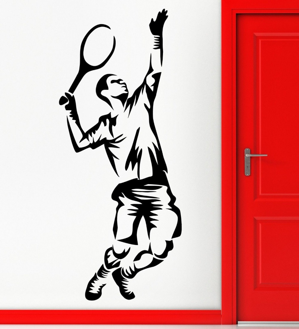 sc 1 st  funkygearonline.com & Tennis Sports Vinyl Wall Stickers Living Room Wall Art Decals Gym Murals