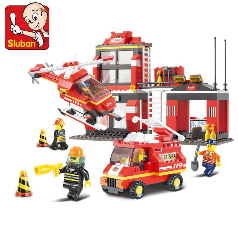 Sluban model building kits compatible with lego city fire 739 3D blocks Educational model & building toys hobbies for children sluban model building kits compatible with lego city fire 739 3d blocks educational model