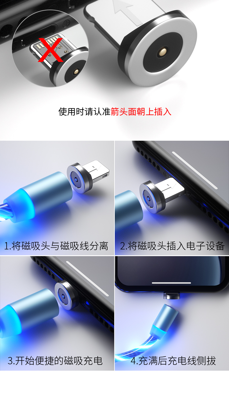 1 м Магнитный зарядный кабель для мобильного телефона, usb type C, светящийся провод для передачи данных для iphone Samaung huawei, светодиодный Micro Kable
