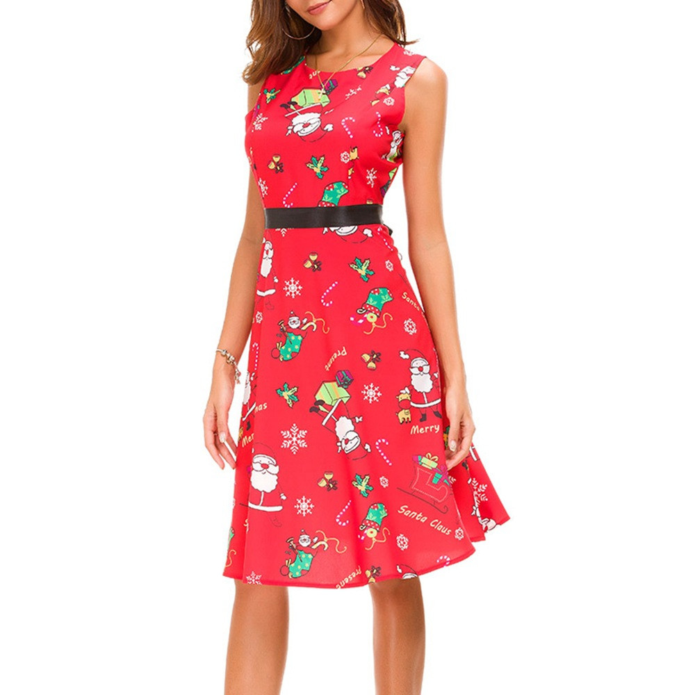 Ladies Sleeveless Vintage Santa Print Christmas Halloween Party Prom Costume Swing Dress Halloween Party Cosplay Costume