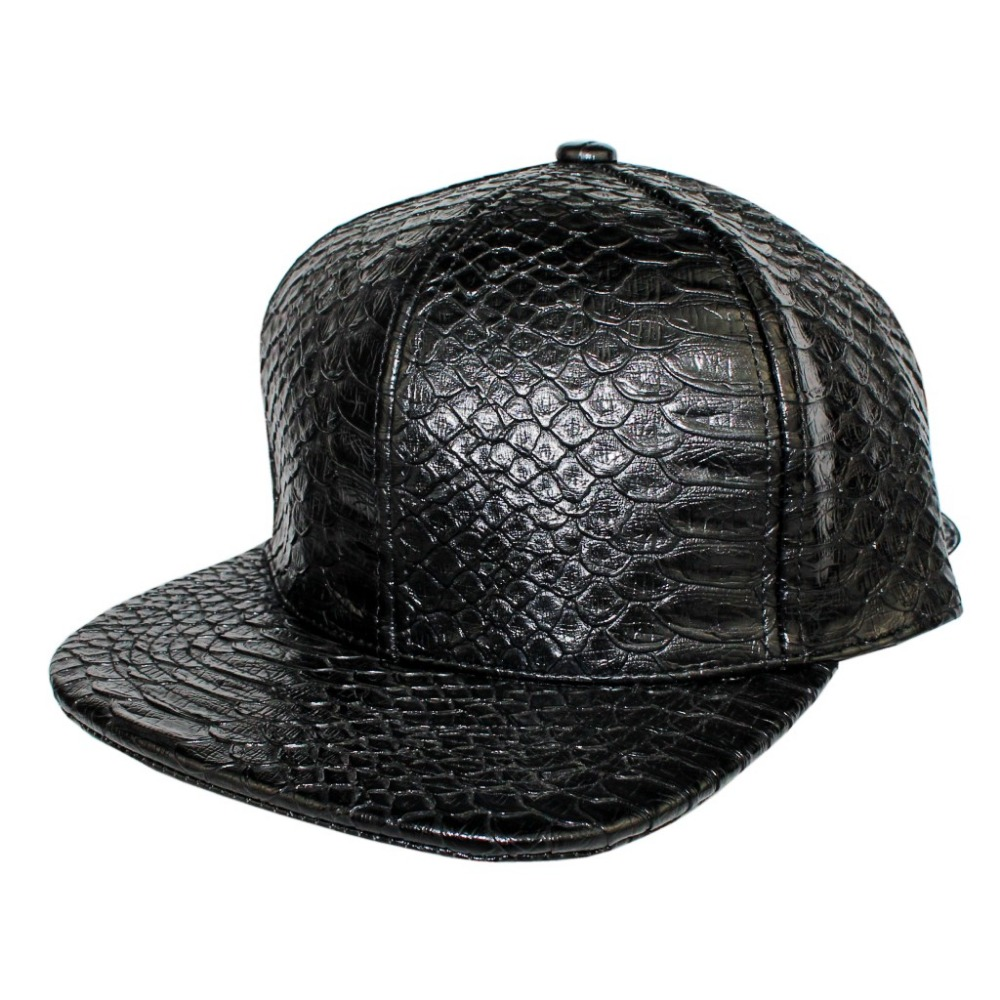 Snakeskin Leather Baseball Cap and Hat Cool new fashion PU black Baseball  Cap for man and woman high quality adjustable snapback f40121d28a6