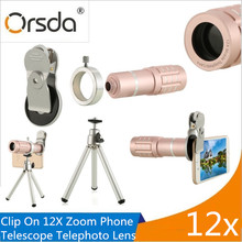 Big sale Orsda Universal Clip 12X Zoom Mobile Phone Telescope Lens Telephoto External Smartphone Camera Lens For IPhone Sumsung Huawei LG