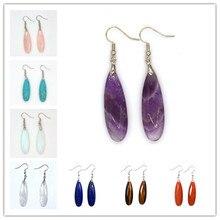 100-Unique 1 Pair Silver Plated Long Water Drop Opal Earrings Elegant Women's Earring Lapis Lazuli Jewelry pair of stylish faux opal water drop earrings for women
