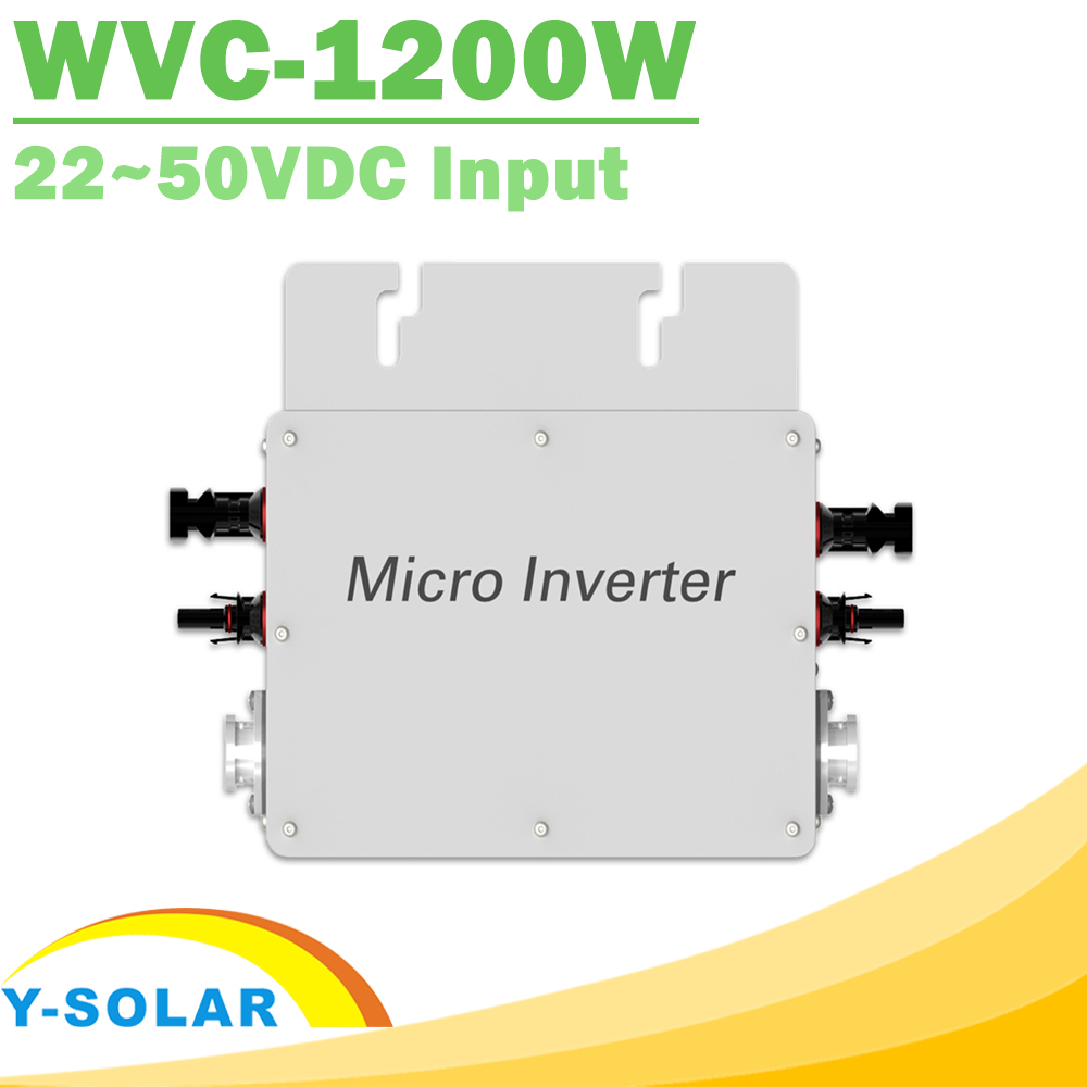 цена на Waterproof 1200W Pure Sine Wave Inverter 110V 220V On Grid Tie Micro Inverter MPPT 22-50V DC Solar Input Easy to install WVC