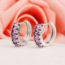 Hesiod brincos de argola cristal brilhantes, brincos de argola cristal para mulheres, aaa, roxo, transparente, de pedra de zircônio, presentes de natal