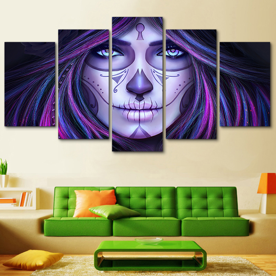 Frame Hd Printed Modern Living Room 5 Panel Day Of The Dead Face