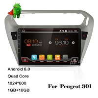 ROM 16G Quad Core Android 6.0 Fit PEUGEOT 301 2014 Auto DVD-Player Navigation GPS Radio bluetooth wifi