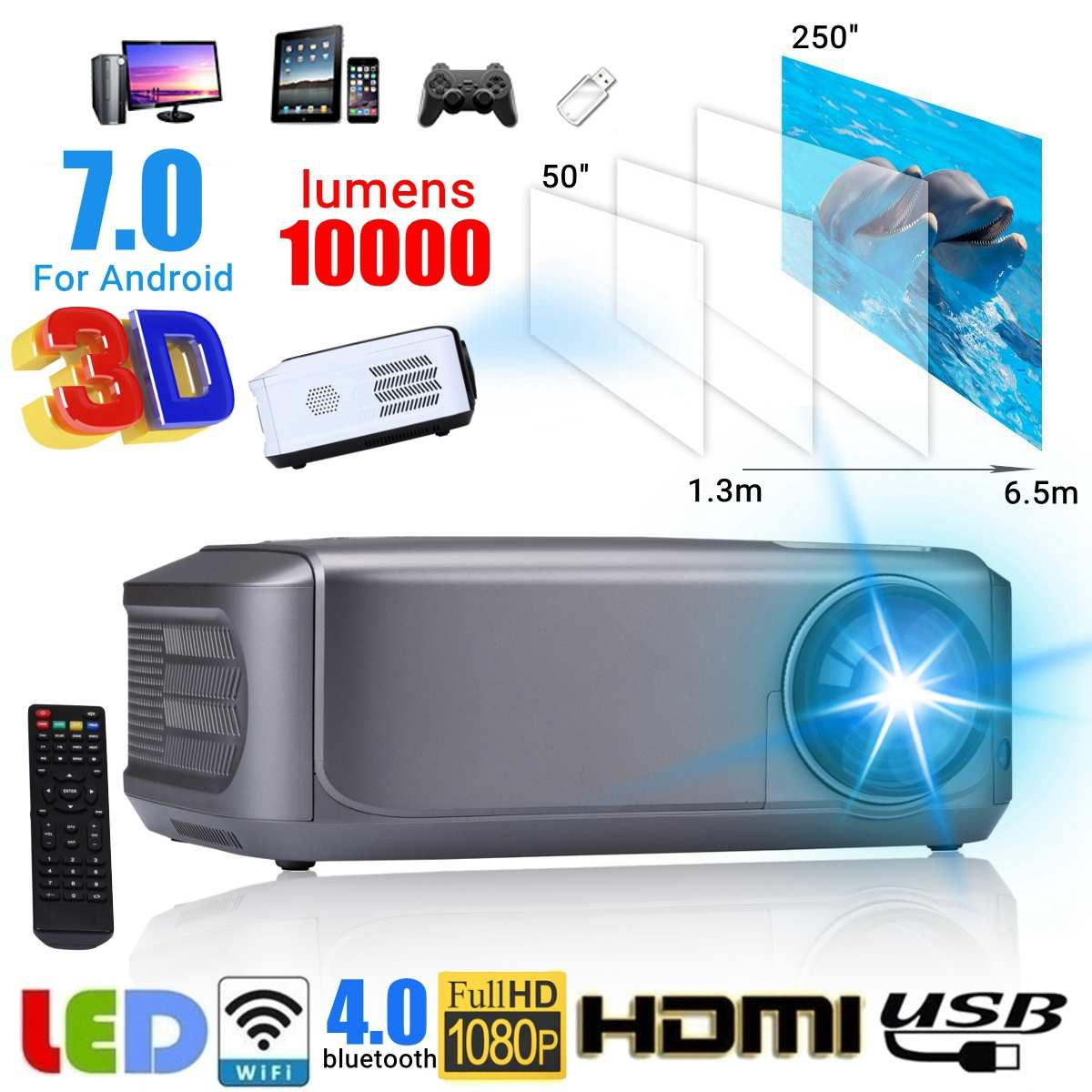 EU Plug WIFI 1080P HD Mini Projector 10000 lumens Proyector Remote Control LED Portable HD Beamer for Home CinemaEU Plug WIFI 1080P HD Mini Projector 10000 lumens Proyector Remote Control LED Portable HD Beamer for Home Cinema