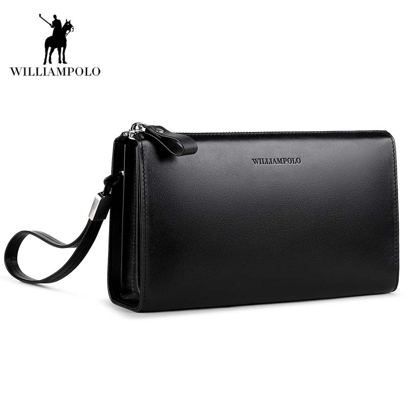 WilliamPOLO 2018 Hot Sale! Luxury Cowhide Men Clutch Bag Long Genuine Leather men wallets Business zipper Clutch Bag POLO197